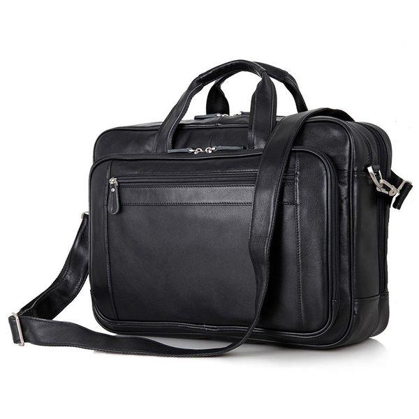 Nesitu Black Office Genuine Leather Men Briefcase Messenger Bags Business Travel Bag 14'' / 15.6'' / 17'' Laptop Portfolio M7367 #235470