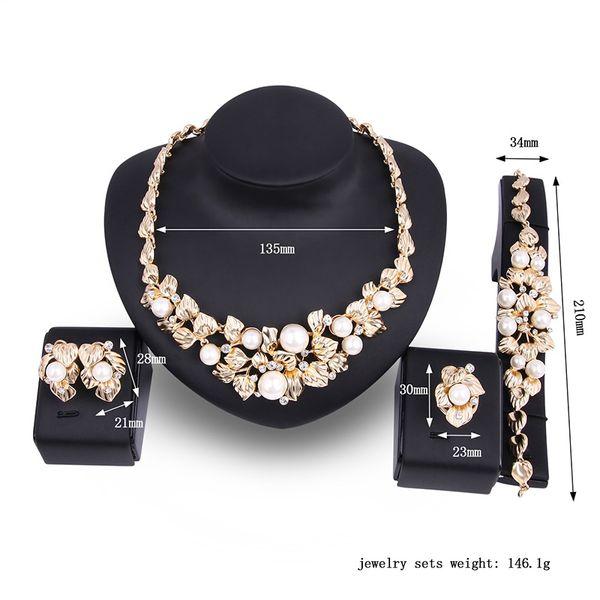 523bc1262e35 Compre Perla Caliente Chapado En Oro Joyas Aretes Collar Conjunto Conjuntos  De Joyas De La Vendimia Mujeres Conjuntos De Joyas Regalo De Boda De San ...