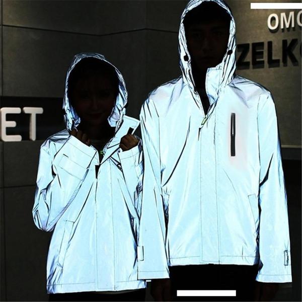 Notte Giacca riflettente brillanti delle donne degli uomini trekking giacche a vento giacche con cappuccio Streetwear giacca sportiva giacca # g4