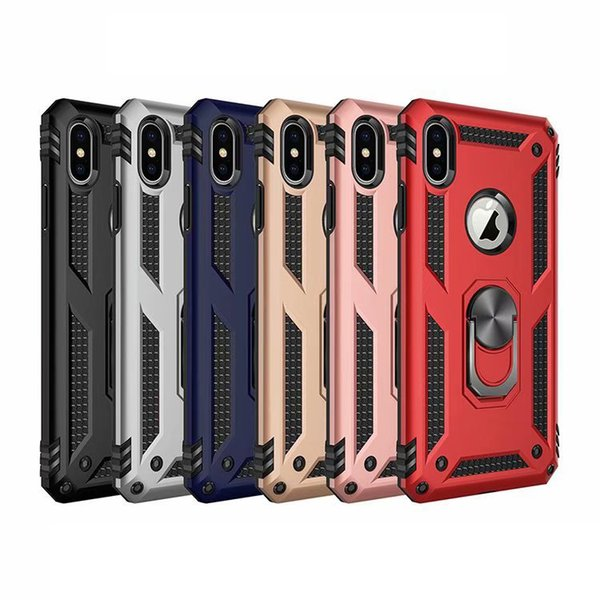 Car Metal Finger Ring Bracket Case For Iphone XR XS MAX X 8 7 6 Plus Galaxy S10 S10e S9 Defender Armor Heavy Duty Combo Hybrid Holder Cover