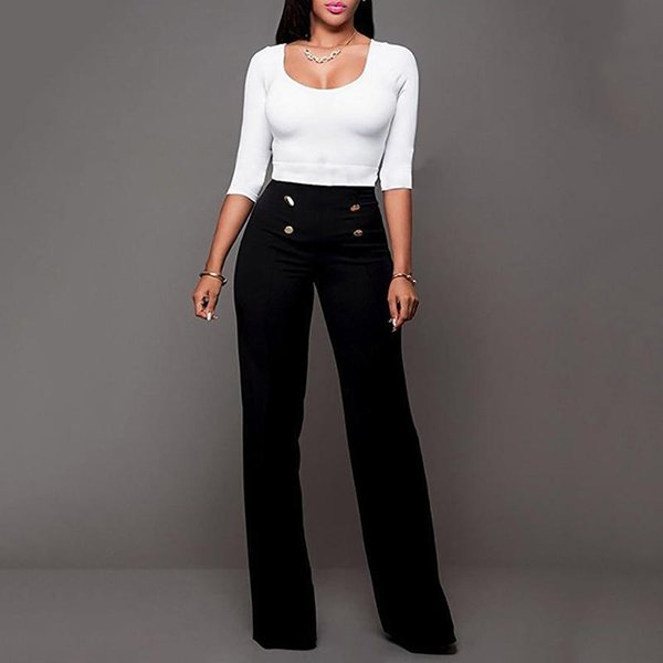 Women Pants Straight 2018 Blue Fashion High Waist Casual Pants Casual Slim Leggings Trousers Plus Size