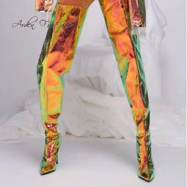Arden Furtado 2019 Moda Feminina Sapatos Dedo Apontado Chunky Heels Senhoras Elegantes Botas de Pvc Sobre O Joelho Botas Altas tamanho grande 45