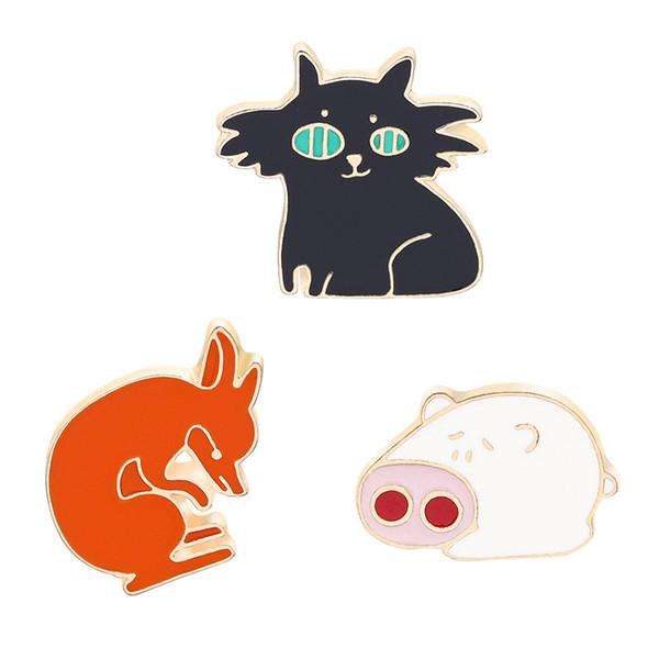 Cute Funny fox cat pig enamel pin badge brooch Lapel pin for Denim Jean shirt bag Cartoon Jewelry Gift for women kids