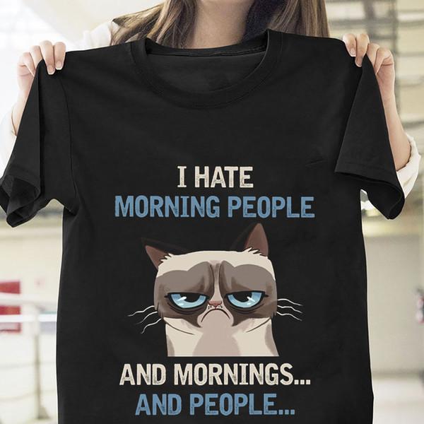 Сварливый Кот Я ненавижу утро люди Майка черный хлопок мужчины S-6XL размер США поставщик discout горячая новая футболка