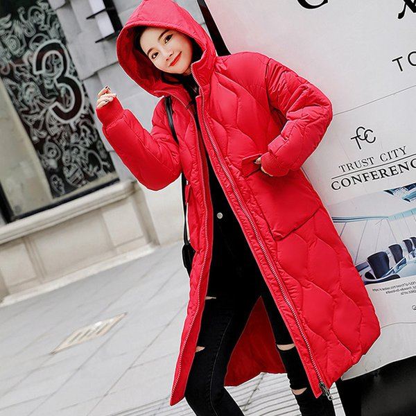 Korean Winter Parka Women's Red Jackets With Hooded Warm Loose Long Female Winter Coat Black White Outerwear Thick Woman Coats