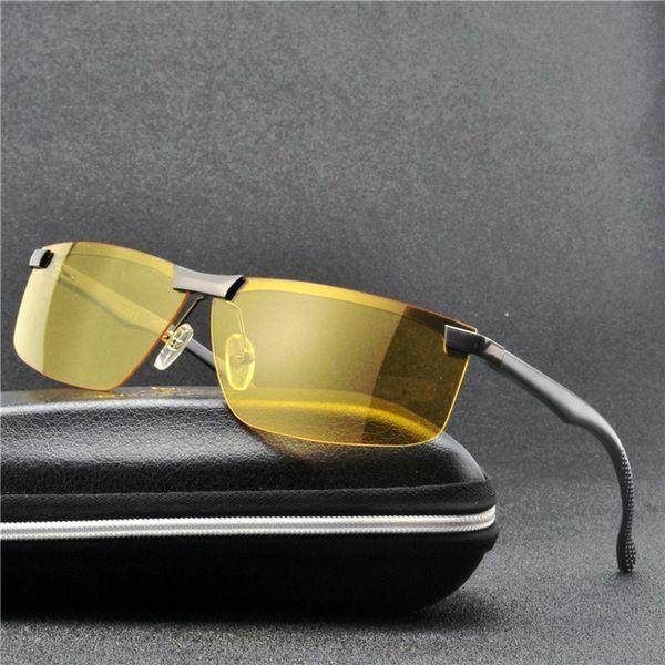MINCL / Lunettes de soleil polarisées Hommes Marque Designer Sunglass Hommes Jaune Objectif Nuit Vision de Conduite Lunettes de Soleil UV Lunettes FML