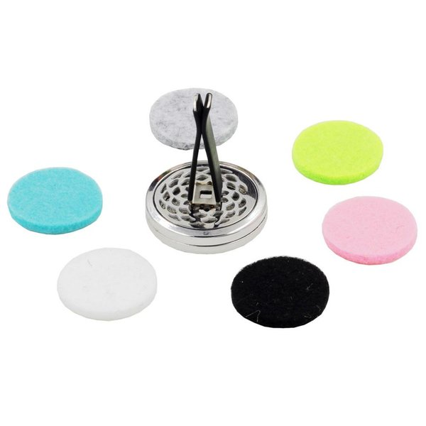 2019DHL Aromatherapy Home Essential Oil Diffuser For Car Air Freshener Perfume Bottle Locket Clip with 5PCS Washable Felt Pads free shipping