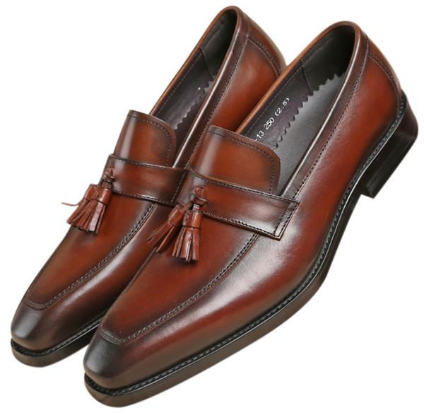 Fashion Black / Tan Tassel Loafers Mens Dress Shoes Genuine Leather Groom Shoes Boys Prom Shoes
