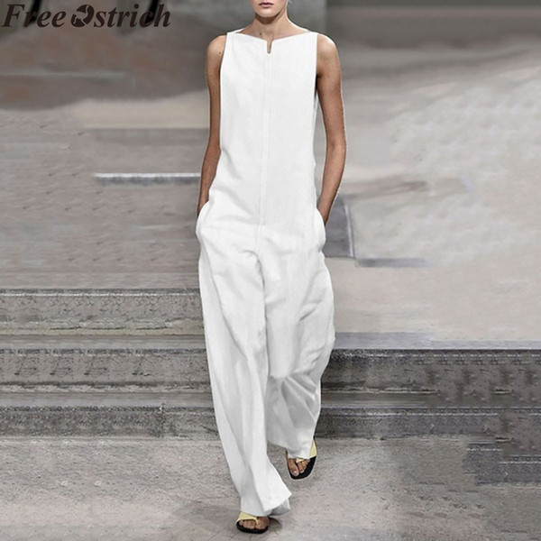 Summer Women Wide Leg Loose Jumpsuit Elegant Long High Waist Pocket Plus Size Casual Jumpsuit Ladies Sleeveless Fashion Rompers