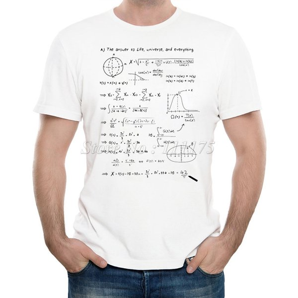 Men's New Fashion The Math Answer of Life Printed T-shirt Summer Cool Design Tops Soft Short Sleeve Tee S-3XL