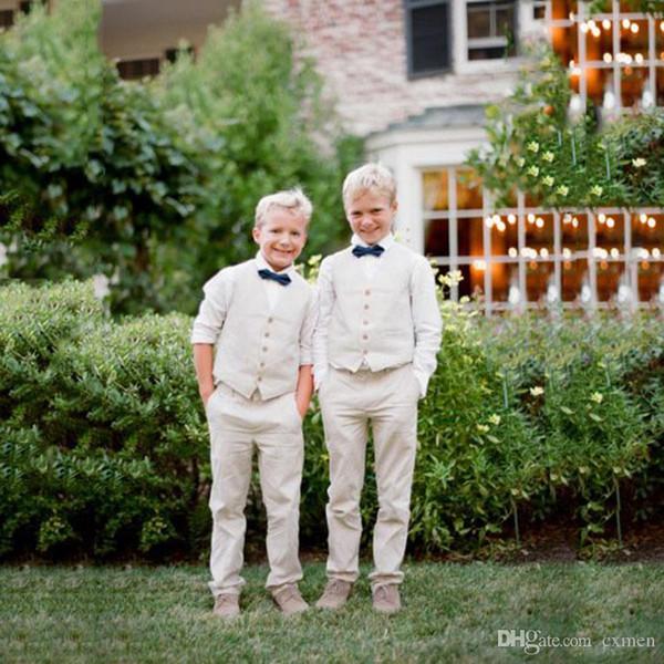 Custom Beach Wedding Suits for Men linen Ivory Boy Suits Kids Clothing Slim Fit Groom Tuxeos Handsome Best Man Blazer Jacket 3 Pieces
