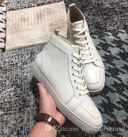 Zapatillas de deporte altas de cuero blanco de 2018 Zapatos de fondo rojo para hombres, diseñadores de lujo Rantus Orlato para hombres planos al por mayor