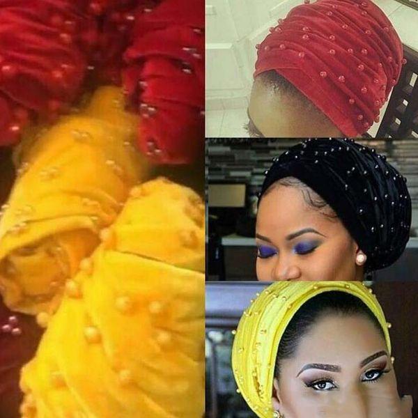 Cappelli per feste Velvet Pearl Turban Bonnet Tube scarf Hat Hijab Hair Loss Chemo Headwear Pieghettato Long Head Wrap Hijab Cap 16colors