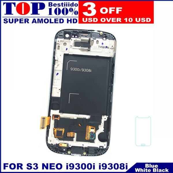 100% AMOLED LCD Display Screen Touch Digitizer for Samsung Galaxy S3 Neo i9300i i9301 i9301i i9308i Phone with Frame Replacement