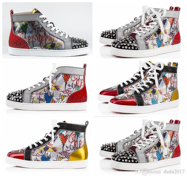 timeless design 80739 f1055 2018 New Season Red Bottom Sneakers Men Casual Shoes Luxury Louboutin Print  Silver Pink Pik No Limit Rare Studs And Rhinestones Graffiti Office Shoes  ...