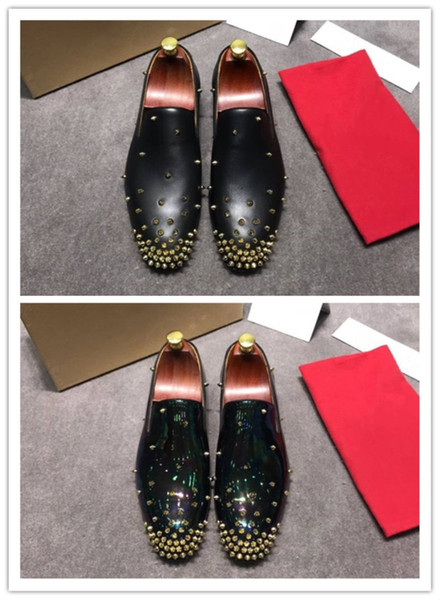 Luxury brands heavy craft forge Pearl luster leather is fully integrated with rivet elements Men's fashion casual shoes