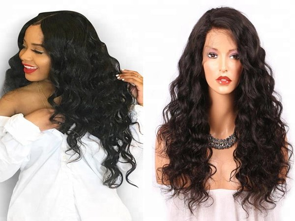 Fashion top grade unprocessed virgin remy human hair long natural color big curly full or front lace cap wig best for black women