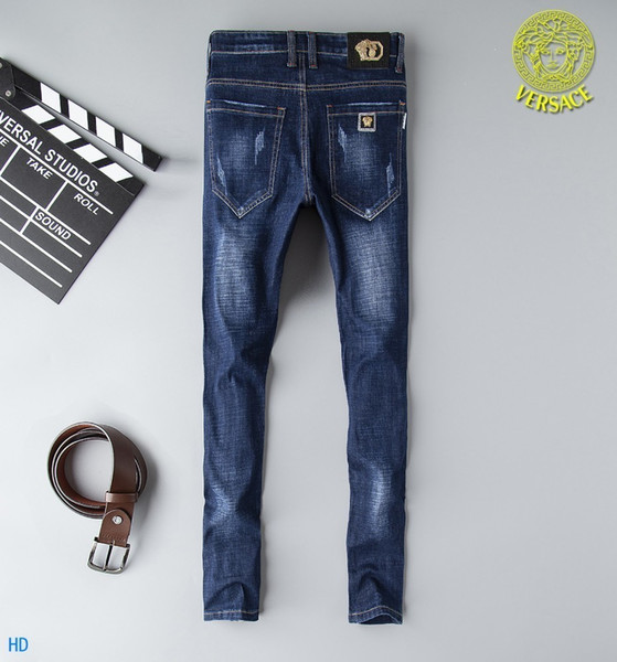 Best 2019 New Fashion Design For Men High Quality And Exquisite Korean Edition Jeans Embroidery Slim Casual Small Straight Foot Trousers 8q