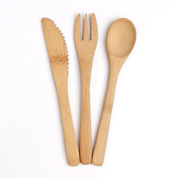 3pcs / Couverts en bambou naturel Vaisselle couteau fourchette cuillère camping en plein air 16cm Set bambou table de vaisselle de cuisine HHA-1072