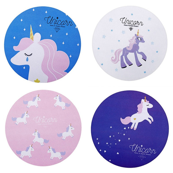 Cute Kawaii Unicorn round mouse pad Home computer skid table mat Mousepad Colorful for Kids Horse Cartoon Printing