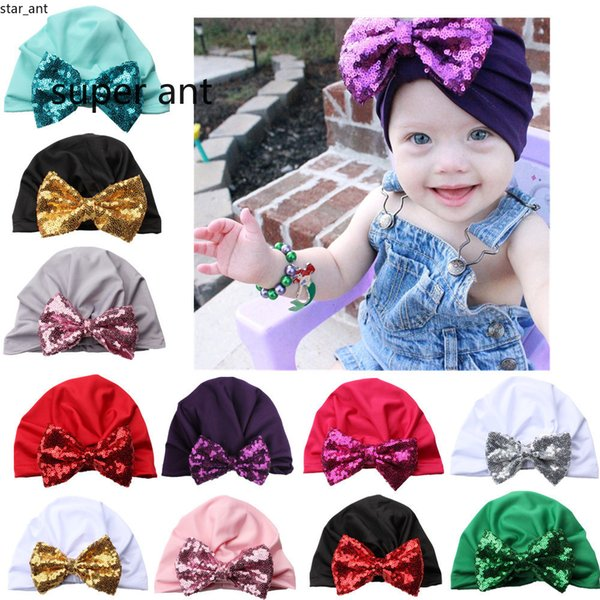 2019 New baby sequined bow knotted headgear for Christmas party gift infant toddlers Indian bling hairband ear cover 0-4T hair band