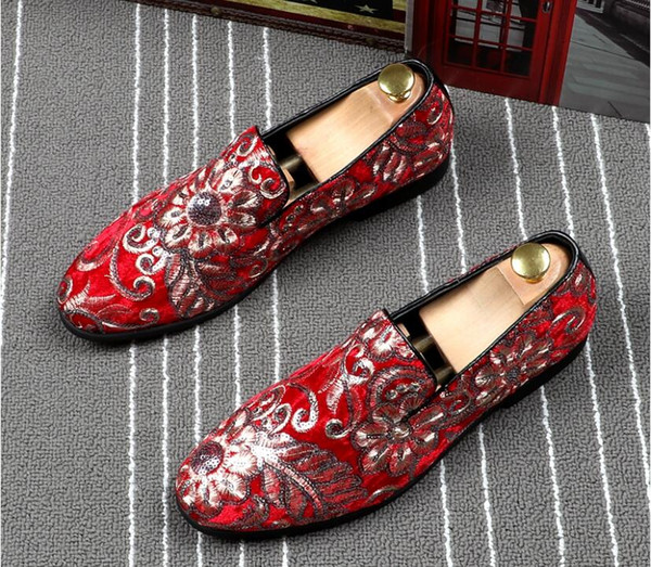 Gold RED Embroidered Luxury Loafers Shoes Men Round Toe Sewing Dress Wedding Shoes Male Slip On Rihanna Creepers Casual Shoes Flats