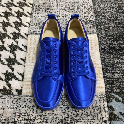 Elegante Moda Azul Couro De Seda Júnior Sneaker Sapatos de Alta Qualidade Red Bottom Casual Andando Confortável Low-top Lazer Flats Com Caixa