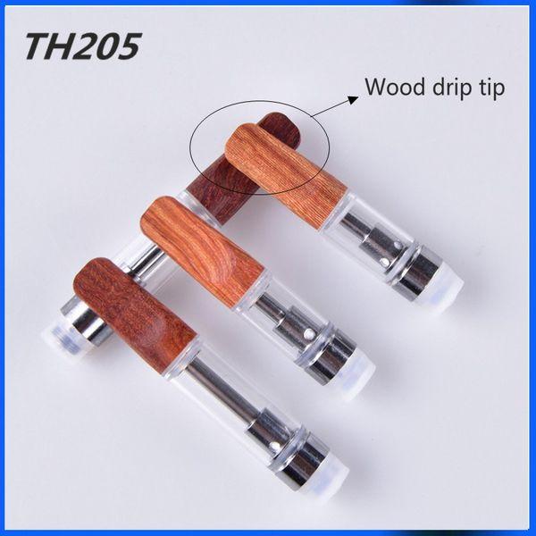 1ml ceramica punta di legno TH205 vuoto penna a vape cartucce atomizzatore di cera per 510 filo sigaretta elettronica sigarette Dab Pen vaporizzatore