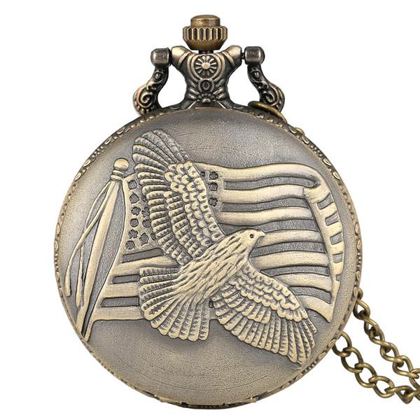 Antique Bronze US Flag Fob Clock Peace Dove Quartz Pocket Watch Necklace Chain for Men Women Souvenir Gift