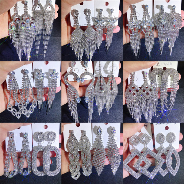top popular Mix tassel Earrings Bling bling shine full crystal rhinestone claw chain diamond exaggerated earrings boutique wholesales Jewelry DHL 2021