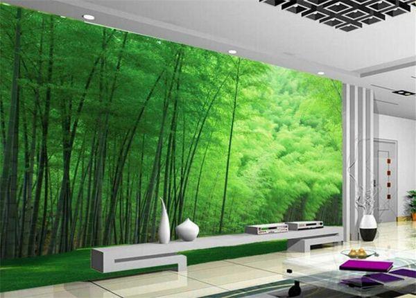 Nature Green Bamboo for Living Room Wall Art Decor Photo Mural Wallpaper Rolls Wall Coverings 3d Wall Murals Wallpaper