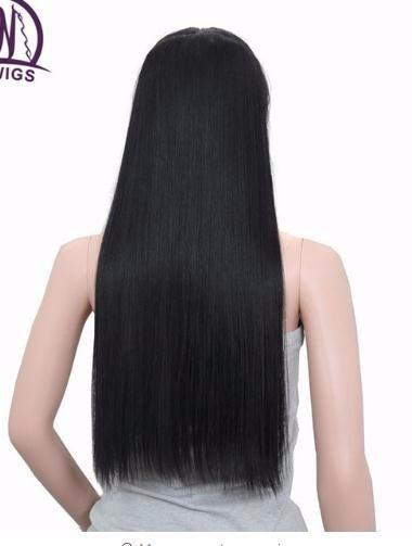 2019 Straight Long Hair Extensions 5 Clips In Extensions 24 Inch Black Synthetic Hair Blonde False 613#