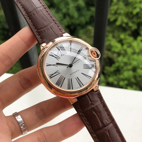 New Mens Watch Automatic Mechanical Movement Auto date Mineral tempered glass Brown fashion leather strap Luxury Watch With box X88