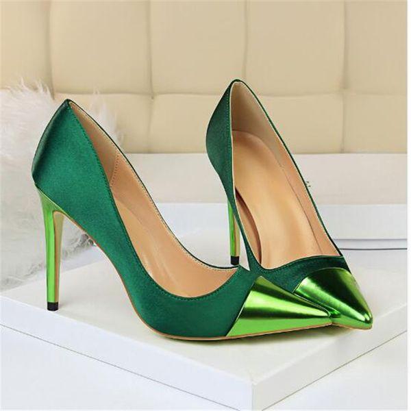 2019 Moda 10 cm Tacones Altos Mujeres Valentine Azul Verde Bombas Mujer Satin Stiletto Heels Tacones Fetish Silk Glitter Pink Shoes