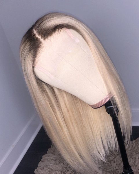 El yapımı Tam dantel İnsan saç peruk # 1bt / 613 ipeksi düz dantel ön İnsan saç peruk siyah kadınlar için bebek saç ile hiçbir dökülme