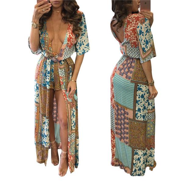 Explosión Modelos Sexy Bohemio Gasa Vestido Floral Costura de Impresión Capa Larga de Moda Para Mujer