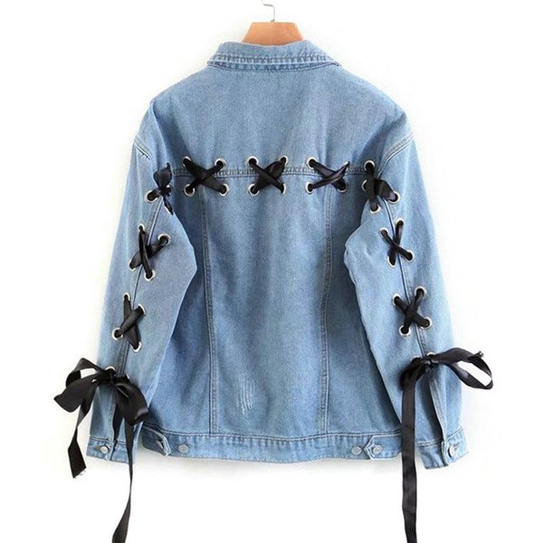 Spring Blue Lace Up Lattice Female Back Classic Denim Jacket New Autumn Single Breasted Casual Women Oversized Coat Outerwear