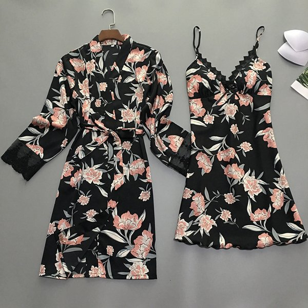 Summer Night Robe Mulheres Sexy 2PC Strap Top Suit Pijamas Define Casual Pijamas Wear Início Nightwear sono Kimono Bath vestido SH190925