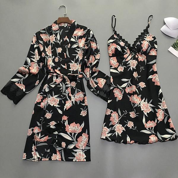 Летней ночь Robe Sexy женщины 2PC ремень Top костюм пижама наборы Повседневные Пижамы Главной Wear Ночного сна Кимоно ванна мантия SH190925