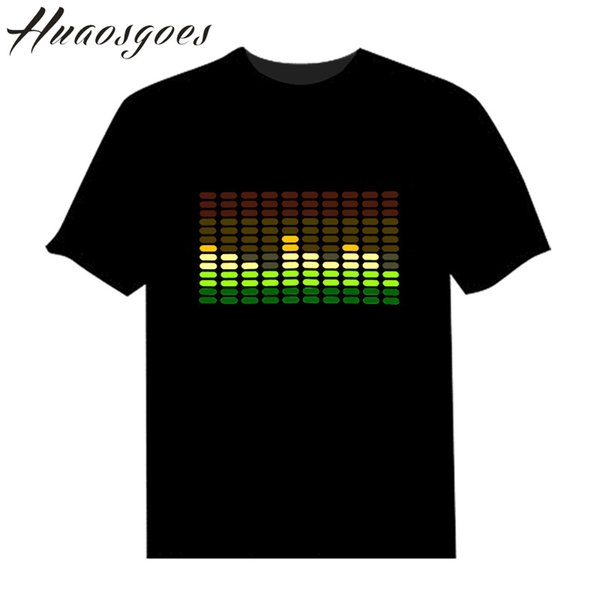 Sale Sound Activated Led Tshirt Light Up And Down Flashing Equalizer Music Activated Elt -Shirt Unisex For Rock Disco Party Dj