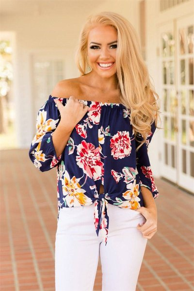 2019 dhl women's floral print short sleeve 3/4 bell sleeve off the shoulder front tie knot t shirt blouse, White