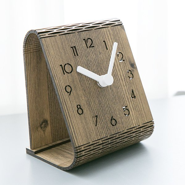 Creative Wooden Table Clock Modern Design Bedroom Decoration Desk Clocks For Student Office Desktop Watch Home Decor Y19062103