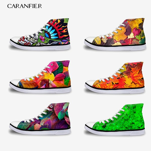 CARANFIER Summer New Fashion Girls Shoes Canvas Shoes High To Help Increase Unisex Printing Pattern Leisure Round Toe 35-45
