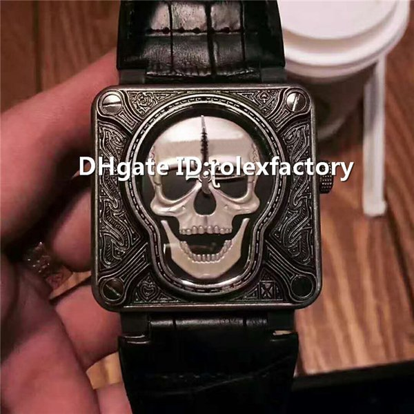 New Luxury skull Watch Swiss Automatic Mechanical Sapphire Crystal 904L texture Carve patterns Case Black calfskin strap Mens Watch