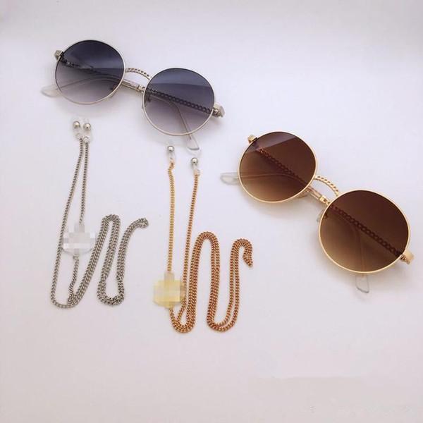 2 pcs luxo CC designer de óculos de decoração Strap cadeia de metal com corda anti-derrapante cordão corda pescoço pescoço retentor