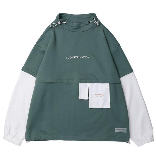 Hommes Hip Hop Sweat Pull 2019 Harajuku À Capuche Streetwear Coton Couleur Bloc Patchwork Style Coréen Sweat Shirt Automne Nouveau
