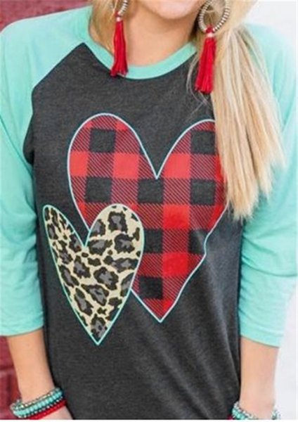 S-2XL Women Pullover Wrist Length Sleeve T shirt 2019 Spring Plaid Leopard Heart Print Sanding Tee Tops Valentine's Day Gifts for Girls