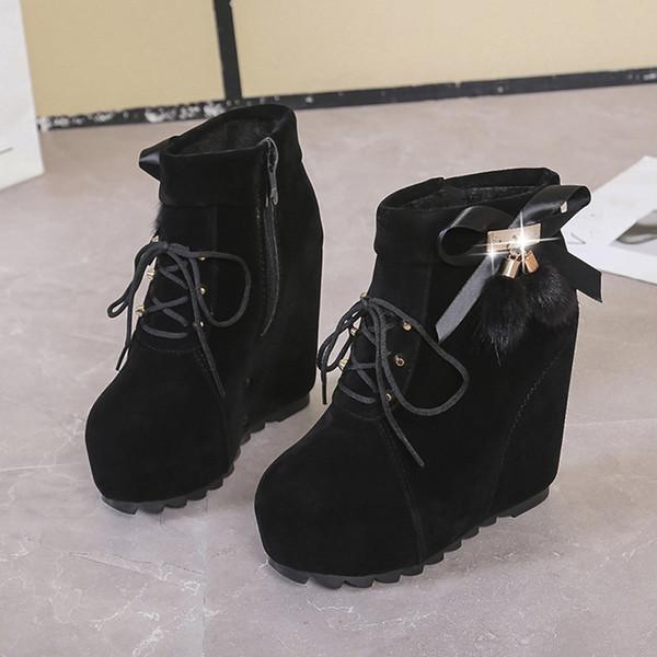 Горячие пинетки Продажа-платформы женщин Мода Круглый Toe Клин вскользь короткие ботинки дамы лук зашнуровать обувь одного feminina Zapatos де Mujer