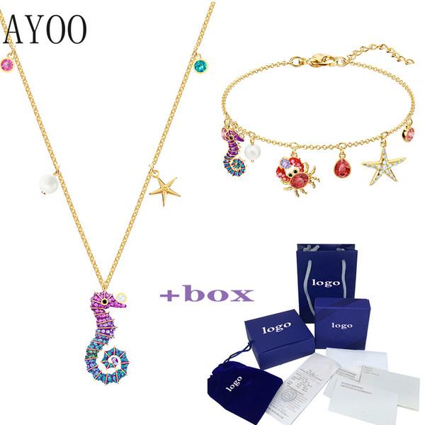 ayoo 2019 new marine horse pendant fashion charm temperament shiny hippocampus decorative crystal female necklace ing