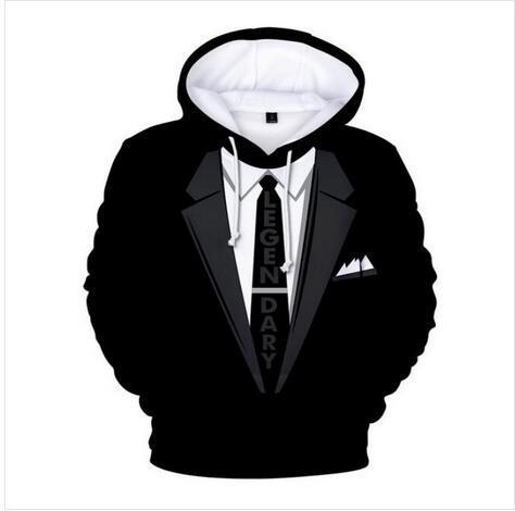 Unisex esmoquin sudaderas con capucha de impresión 3d informal sudadera con capucha hombres mujeres ropa estilo harajuku chaquetas jersey marca de calidad escudo yt0164